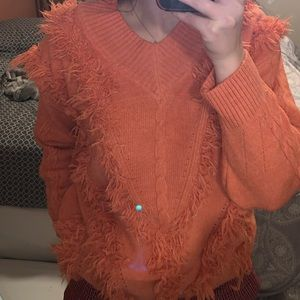 ZAFUL coral v-neck with fringe